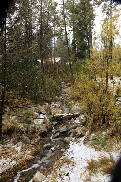 Snow, or as some say sleet or hail, fell on the Hill early Friday, Nov 21. The amount of rain and snow was not nearly sufficient to reduce the effects of the current drought.          Photo by Cheryl Basye
