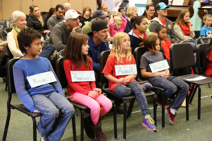 nervous fifth graders sit awaiting their word during the Idyllwild School Elementary Spelling Bee on Friday. The Middle School Bee followed later in the afternoon.  Photo by Cheryl Bayse