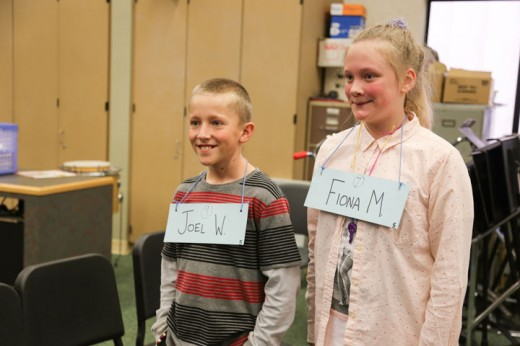 Joel White, the winner, and Fiona McMullen, the runner-up, in the Idyllwild Elementary School 2015 Spelling Bee needed 18 rounds to settle the competition on Friday. In January, they will participate in the Hemet Unified School District Bee. Photo by Cheryl Basye
