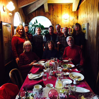 The 2014 Idyllwild Community Fund Advisory Committee at its year-end luncheon at the Gastrognome. Front row, from left, Trish Tuley, Jayne Davis and Marshall Smith. Back row, from left, Jeri Sue Haney, Bill Sperling, Summer Brown, Jim Nutter, Ron Krull, Steve Taylor and Kathy Harmon Luber. Photo courtesy ICF