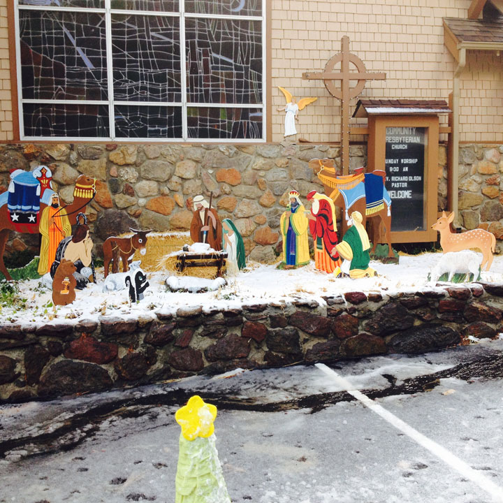 SNOWY SCENE: Snow fell on Idyllwild and the Nativity Scene at Idyllwild Community Presbyterian Church early on Wednesday morning, Dec. 17.    Photo by Halie Wilson