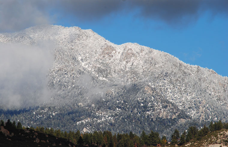 Snow fell at higher elevations during the Dec. 12 storm. While less than an inch fell in town and in Pine Cove, the mountaintops were covered in white on Saturday, Dec. 13.            Photo by J.P. Crumrine