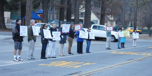 Idyllwild teachers in front of school Wednesday morning.