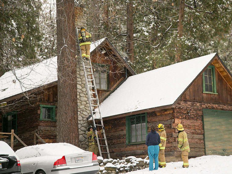 At about 1 p.m. Wednesday, Dec. 31, Idyllwild Fire responded to a chimney fire on South Circle Drive. The residence was quickly investigated, the fire extinguished and no one was injured.        Photo by Jenny Kirchner