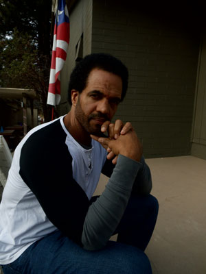 """Kristoff St. John talking about his film """"A Man Called God"""" in front of the Rustic Theatre on Saturday. Photo by Becky Clark"""