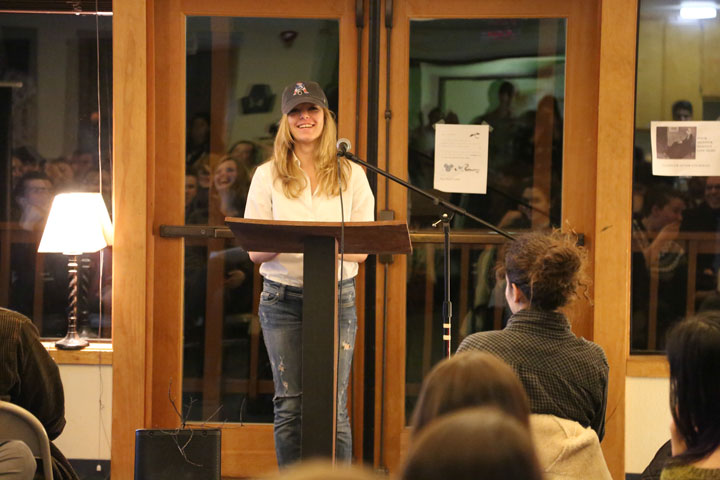 One of the students sharing their work during Friday's Parallax reading at Idyllwild Arts Academy. Photo by Cheryl Basye