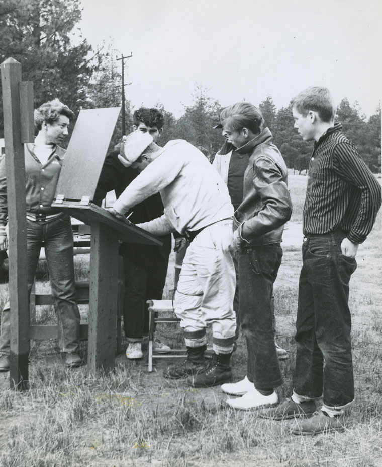 Deer hunters register at Little Thomas Truck Road in about 1966. File photo