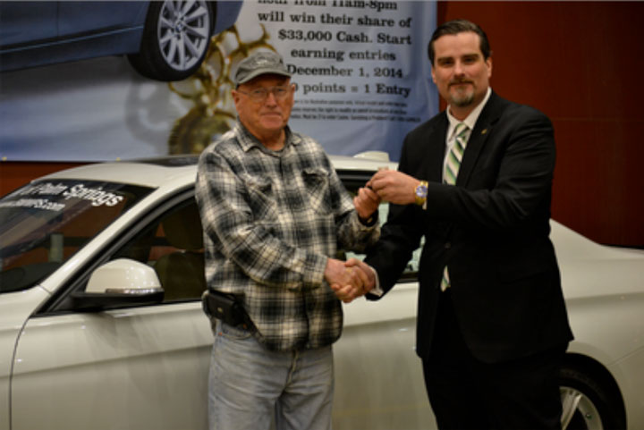 New Year, New Ride Winner Dan Stegall receiving his key to his beautiful new BMW from Soboba Casino's Director of Marketing Michael J. Broderick Photo courtesy Soboba Casino