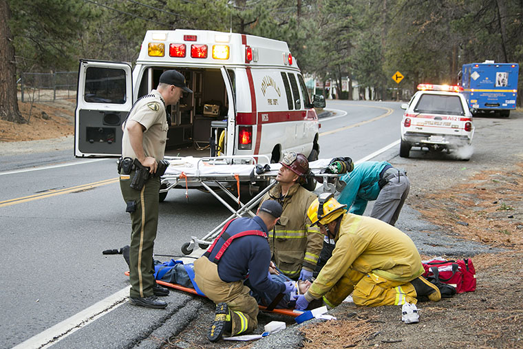 At about 3:40 P.M. on Friday afternoon, a male pedestrian was struck by a large truck while walking on Highway 243 near Ridgeview Dr. The victim suffered moderate injuries and was transported by Idyllwild Fire to Desert Regional Medical Center. The circumstances surrounding the incident are under investigation. Photo by Jenny Kirchner