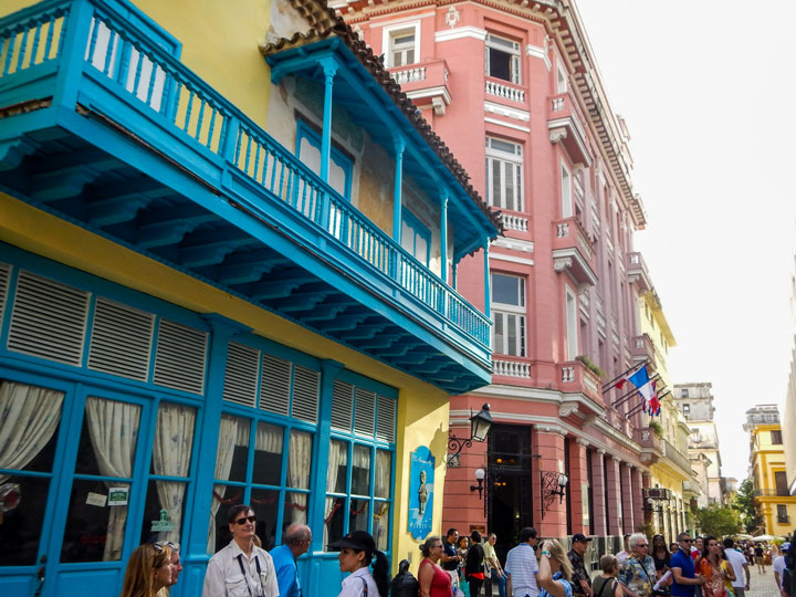 A part of old Havana showing government efforts to restore historic architecture. Photo by Erin O'Neill