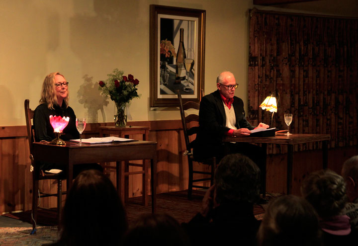 """LOVE LETTERS: Isis Theatre Company presented A.R. Gurney's """"Love Letters"""" last weekend. Suzanne Avalon (left), president and founder of Isis, played Melissa Gardner and Howard Shangraw (right) played Andrew Makepeace Ladd III. Their readings of the letters brought laughs and tears during the two performances at the Rainbow Inn. Photo by John Drake"""
