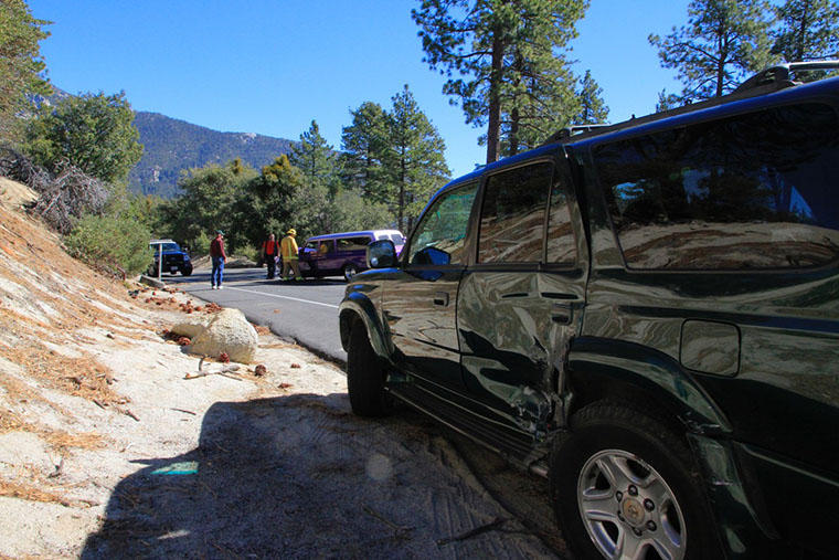 San Clementer resident Jacob Murphy's Forerunner sustained heavy damage after being struck by Robert Dunn's purple suburban. Photo by John Drake