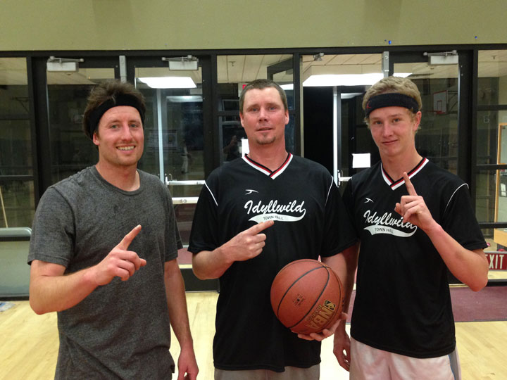 Town Hall Adult Basketball 3-on-3 champions are, from left, Ryan Priefer, Matt Nunn and Justin Nunn. Photo by Bo Dagnall