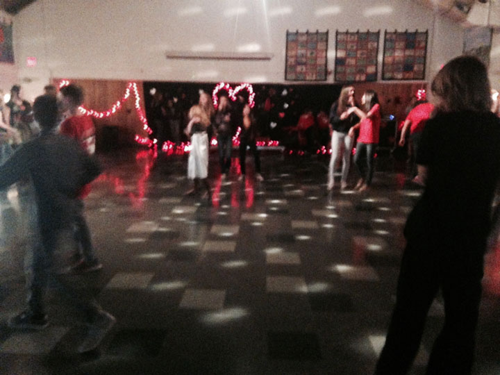 SCHOOL DANCE: Idyllwild Middle School students enjoyed a Valentine's Day dance Friday afternoon in the multi-purpose room. Photo by Becky Clark