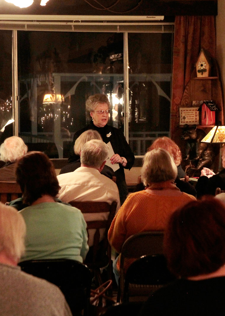 TALKING TRUSTS: On Thursday, Kay Wanner speaks to a full house at Silver Pines about setting up trusts and the large costs of probate. Wanner was part of the Idyllwild Community Center Speaker Series.       Photo by John Drake