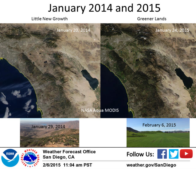 These aerial photographs of Southern California compare the landscape of 2014 (left) to the same area in 2015, after the November and December rains, which produced a greener landscape. Photo courtesy of the National Weather Service