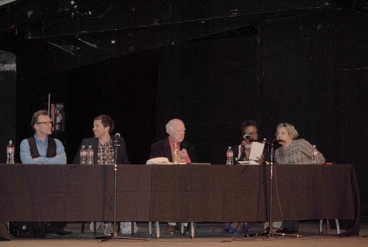"The panelists who discussed ""Art in Society"" at Idyllwild Arts on Friday were (from left) John Pennington, George Blake, John David Mooney, Claudia Rankine and Mariana Amatullo. Photo by J.P. Crumrine"