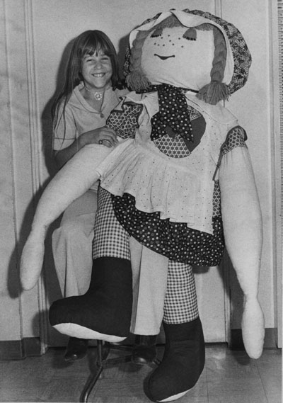 Carol Jones, an Idyllwild sixth grader, showed off the doll her sister, Kathy Irving, made for her by hand in January 1975. It was one of Carol's Christmas presents and she brought it to school so her friends could see it. File photo