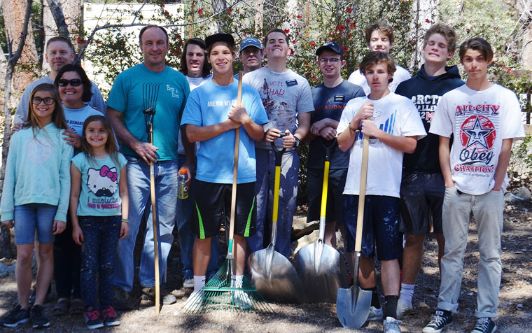 On Saturday, March 21, several fellow Boy Scouts and adults participated in Chad Schelly's project helping Town Hall. From left are Jeff Bradshaw, Ana Bradshaw, Aislynn and Rosemary Bradshaw, Chip Schelly, Aidan Young, Chad Schelly, Matt Huff, Elder Franson, Elder Pennell, Mitchell Romeril, Tristan Wettlauffer, Christian Huff and Jonah Bradshaw. Photos by Leslie Schelly
