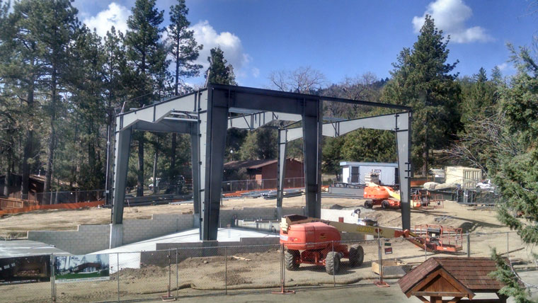 "Construction on the William M. Lowman Concert Hall on the Idyllwild Arts campus is proceeding. This attached steel frame will help cover the lobby and about half of the ""house"" (audience) in the concert hall. Photo by John Newman, Idyllwild Arts Academy"