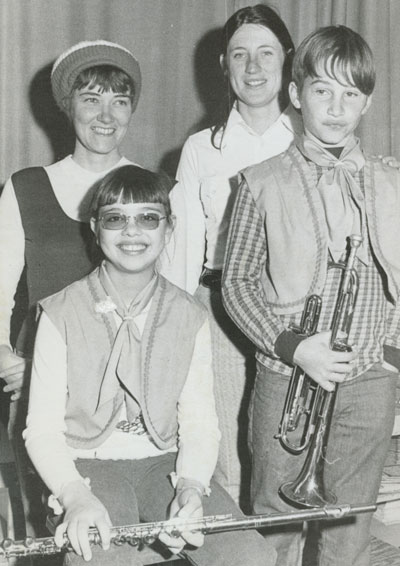 Front row, from left, Idyllwild School band members Terri Ortega and Steve Grewe with band mothers Kathy Beane and Bonnie Love in March 1975. File photo