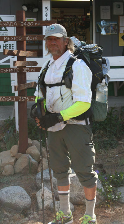 "Pacific Crest Trail first-time thru-hiker ""Rebo,"" aka Randy Burton of Pasadena, on Monday, March 30. Burton is one of the first PCT hikers this spring to come through Idyllwild. Photo by Marshall Smith"