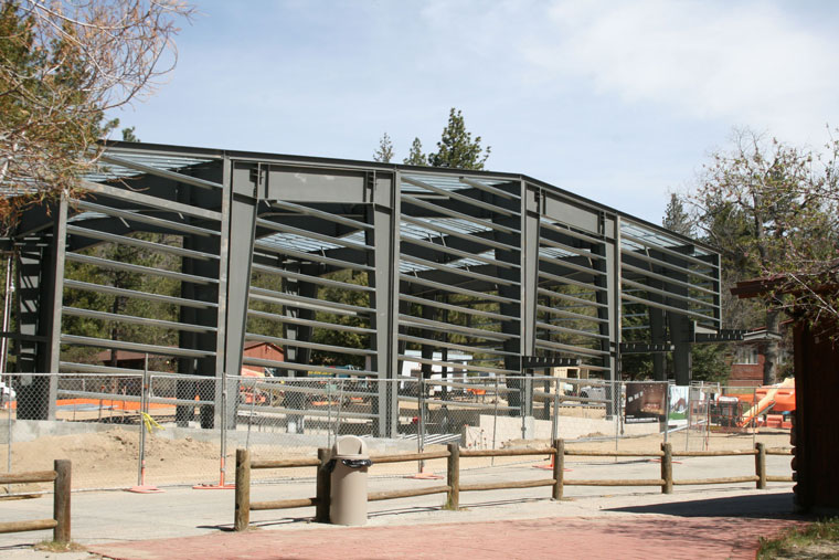 Steel framework is in place for the Lowman Concert Hall on the Idyllwild Arts campus. Completion is anticipated for late August or early September 2015. Photo by Marshall Smith