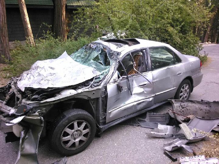 David Jerome's mangled Honda. Photo courtesy David Jerome