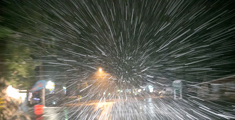 As night fell, snow started bombarding North Circle with heavy flakes. Photo by Jenny Kirchner