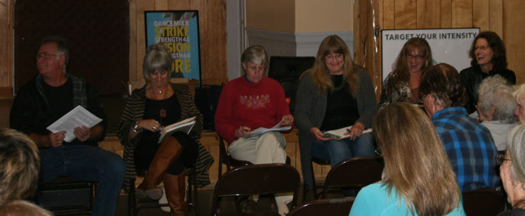 Seven of the 10 new directors of the Art Alliance of Idyllwild at Saturday's meeting. From left, Gerry High, Del Marcussen, Veda Roubideaux, Darcy Gerdes, Terryann Halloran and Shanna Robb. Byron Ely and Erin O'Neill are just out of range of the camera. Not attending because of travel conflicts were Cate and Peter Szabadi. Photo by Marshall Smith