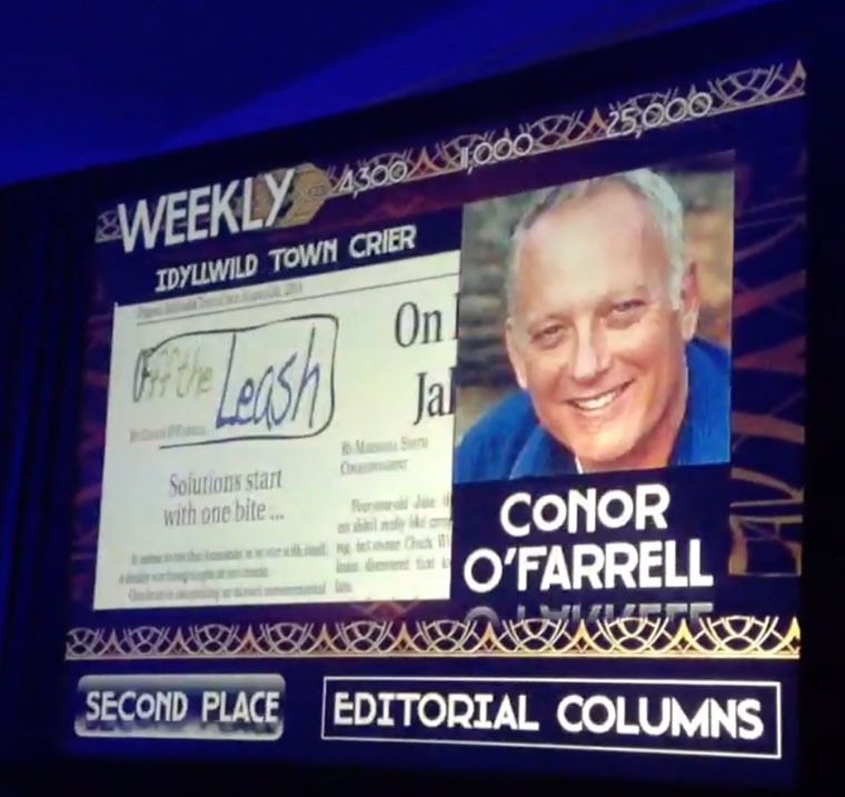 The announcement of Conor O'Farrell's second place award at the California Newspaper Publishers Association Press Summit in Coronado last Saturday. Conor and his wife, Holly, were present at the event. Photo by Becky Clark