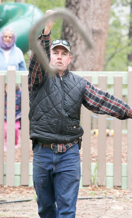 """Jim Nutter goes for a """"ringer"""" May 17, 2015, during the annual horseshoe tournament at the Idyllwild Community Center site. This photo won a first place in the National Newspaper Association's Best Newspaper Contest recently.PHOTO BY JENNY KIRCHNER"""