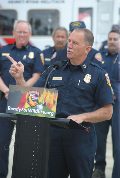 Cal Fire Director Ken Pimlott speaking at Ryan Air Attack Base in Hemet Friday. Photo by J.P. Crumrine