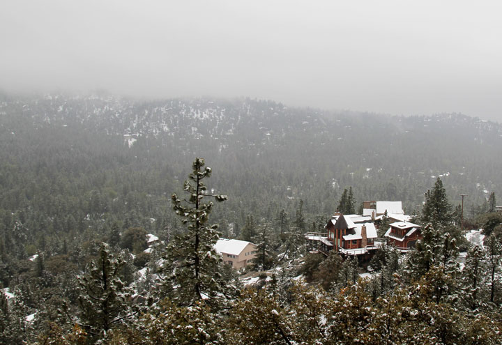 In a surprise spring snowstorm, nearly 4 inches fell in Idyllwild and more in Pine Cove early Friday morning, May 8. Photo by John Drake