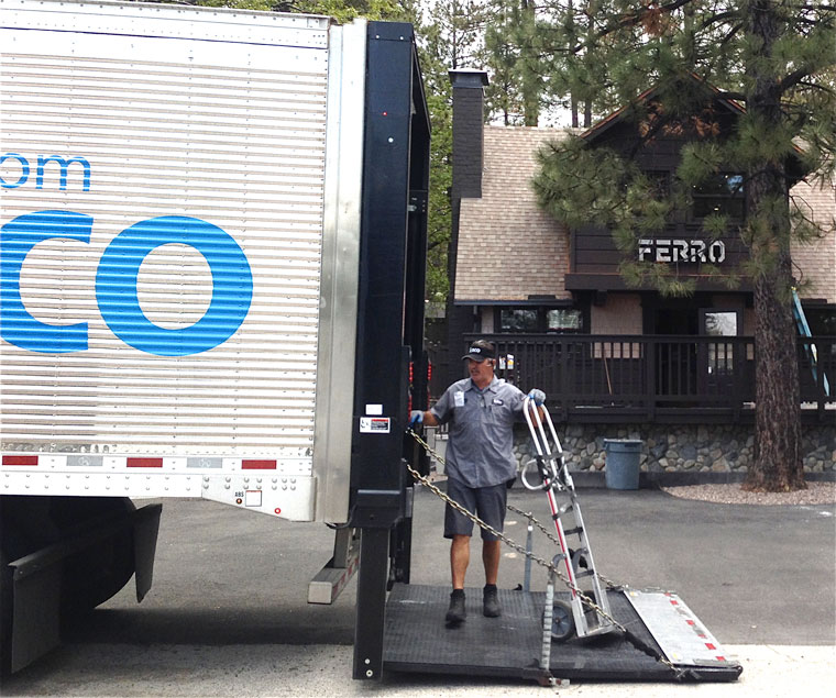 Dave Davis makes Sysco's first delivery to the new Ferro restaurant on Monday at 1 p.m.; just a few supplies, the main food deliveries are yet to come. Photo by Jack Clark