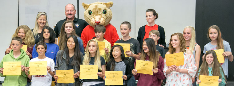 Middle-school students at Idyllwild School are recognized for their many accomplishments Friday morning on campus. Here the Associate Student Body is awarded for their hard work throughout the school year. Photo by Jenny Kirchner