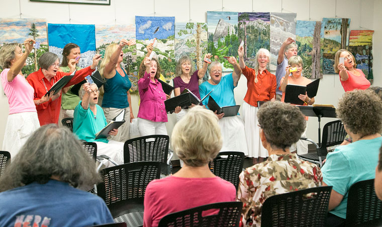 On Saturday, Local Color performed some of their favorite songs about literature and libraries to celebrate the kickoff of the Idyllwild Library's Summer Reading program from June 20 through July 31, complete with showing their library cards during one of their songs. Photo by Jenny Kirchner