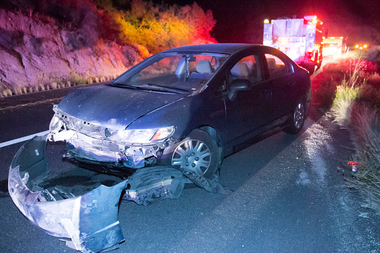 At about 10 p.m. Tuesday, Julia Goldfarb-Sousa, 22, of Mentone, was traveling west on Highway 74 in her 2009 Honda Civic when she lost control and slammed into the mountain. According to Sousa, she swerved to avoid hitting a rabbit near Mile Marker 52 resulting in the collision. Idyllwild Fire responded to the scene, but Sousa was uninjured and no other vehicles were involved. The westbound lane was closed for about 30 minutes while the scene was cleared. Photo by Jenny Kirchner