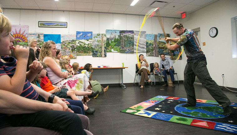 Dancing was the theme at this week's reading time at the Idyllwild Library Monday morning. Special guest Tony White demonstrates spinning ribbons, which was a hit with the kids and the parents. Afterward, the kids got to make their own spinning ribbon.Photo by Jenny Kirchner