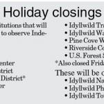 Holiday Closings: July 4, 2015