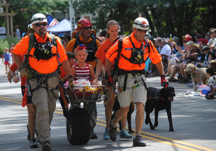 The Riverside Mountain Resuce Unit participated again in the Fourth of July Parade. Photo by J.P. Crumrine