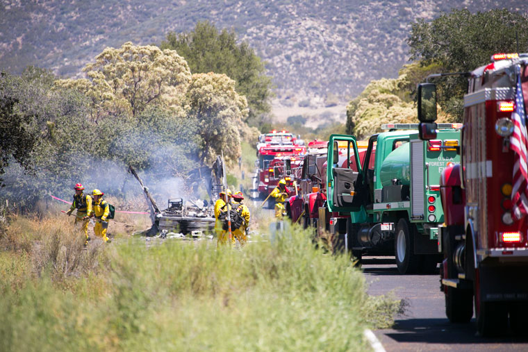 What was left of the RV that started Monday's Anza Fire. Photo by Jenny Kirchner