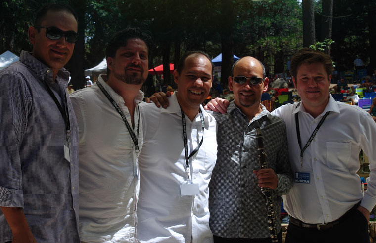 Idyllwild Arts alumni were featured at this year's jazz fest. Five of the most well-known national and international musicians are (from left) Daniel Sazer-Krebbers (class of 2002), Andy Fraga Jr. (1997), Jason Jackson (1989), Evan Christopher (1987) and Graham Dechter (2004).Photo by JP Crumrine