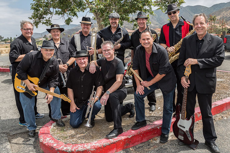 City Beat, Aug. 13 headliner for the Idyllwild Summer Concert Series, returns with an expanded horn section. Back row, from left, John King, Kevin Kline, Dan Glass, Mark Day, Daryl Golden and Bob Binder; front row, from left, Ed Riojas, Mike Muench, Rick Grady, Steve Graves and Doug Forbes. Photo courtesy Ed Riojas