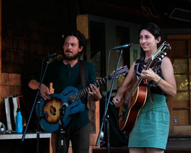At left, Nathan Rivera and Jesse Andar-Smith of Gypsy Blues performed at Cafe Aroma Monday night. Photo by John Drake