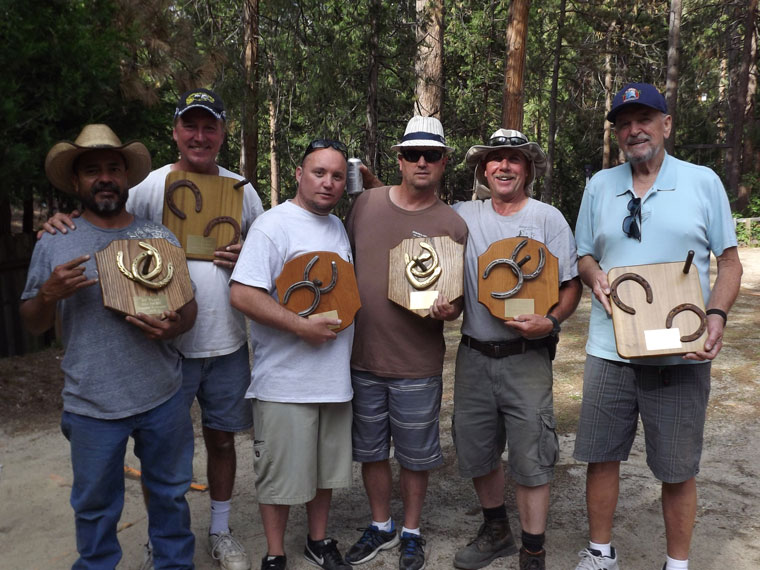 The winners of the Sons of the American Legion Post 800 annual Horseshoe Tournament, held Saturday, are, from left, Diamond Cowboy, 1st, Bob Lewis, 3rd, Shawn O'Brian 2nd, and Matt McDonald, 1st, Jim Nutter, 2nd, and Bill Poteat, 3rd. Photo courtesy Jim Nutter