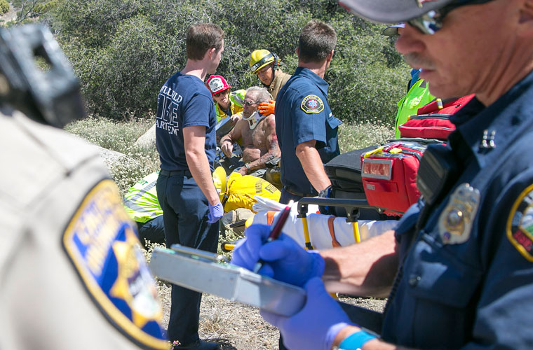 According to California Highway Patrol Officer Ed Nuñez, about 1:30 p.m. Thursday, Aug. 20, Michael Stackpole, 71, of Idyllwild, was traveling north on Highway 243 on his 1999 Kawasaki. He lost control and slid off the highway. Stackpole was traveling at about 30 miles per hour. He said a bag he was carrying had too much weight. It shifted while he was trying to make a corner and caused him to lose control. American Medical Response transported Stackpole to a nearby hospital with a broken left leg and road rash.