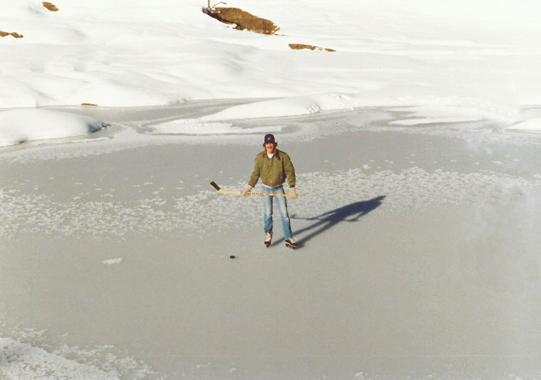 Former Idyllwild resident Steve Davis, now of Ocala, Florida, skating on Foster Lake in January 1980. The lake was very shallow and the ice-covered lake was making cracking noises as he skated on it. Today, the lake is dry. Photo by Patti Pennick