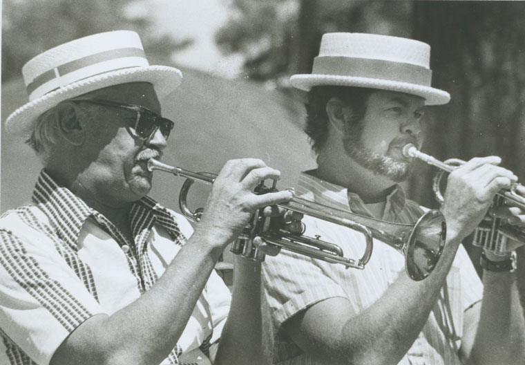 Hot trumpeters in summer musical program in July 1974: Bill Davis and Jerry Coulter. FILe photo