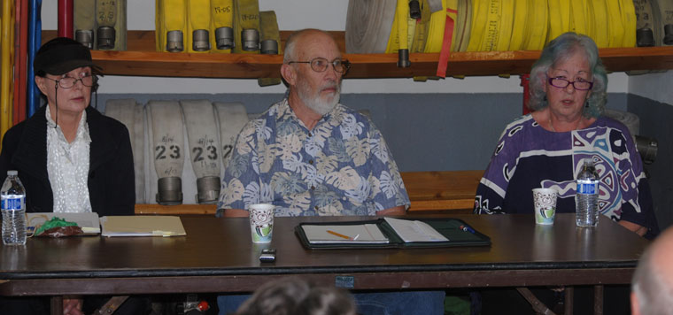 The three candidates for the Pine Cove Water District board appeared before the public Tuesday evening, Aug. 4. From left, Sharron Kaffen, Tim Lange and Diana Eskew. The forum was held at the Pine Cove Fire Station. Photo by J.P. Crumrine